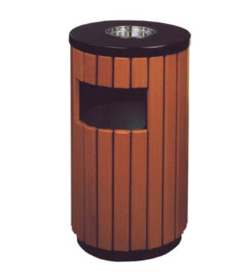 仿木烤漆钢木垃圾桶