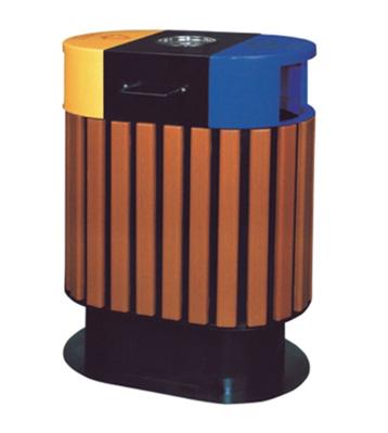 仿木烤漆钢木分类垃圾桶