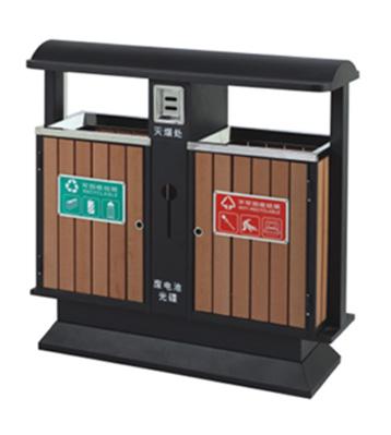 环保分类钢木垃圾箱