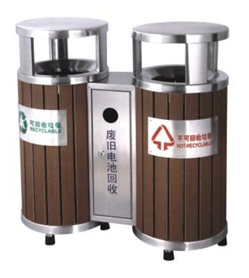 室外分类环保钢木垃圾桶