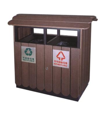 屋檐式分类钢木垃圾箱