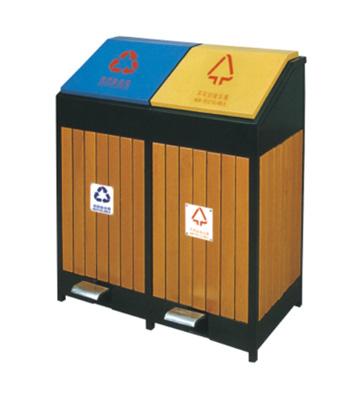 脚踏式环保分类钢木垃圾箱