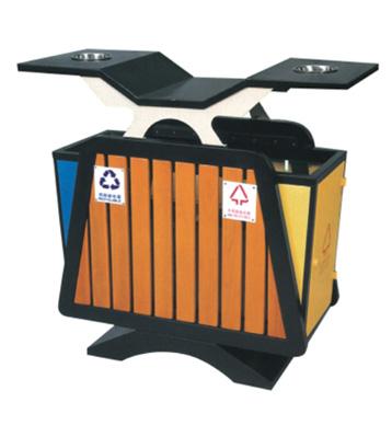 双分类带烟灰缸钢木垃圾箱