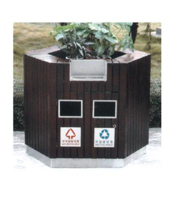 六角花盆钢木垃圾桶