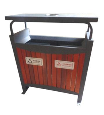 户外社区钢木分类垃圾桶