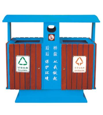 户外分类木制垃圾桶