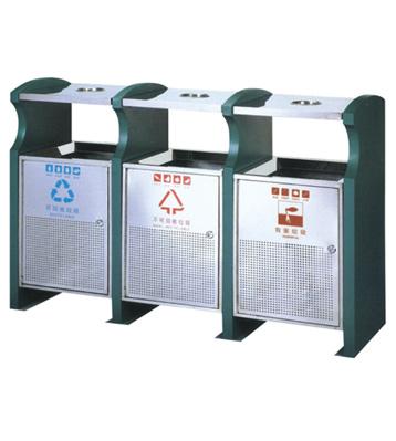 大型三联分类钢制垃圾箱