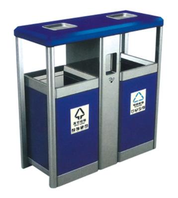 银蓝分类环保钢制垃圾桶