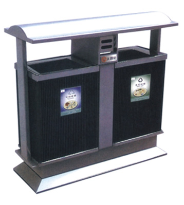 银灰分类环保钢制垃圾桶