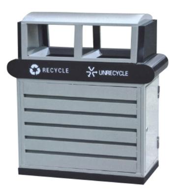 条纹分类环保钢制垃圾桶