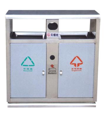 银白分类钢制垃圾箱