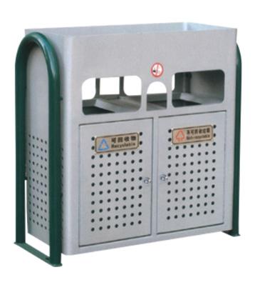 带花盆小区分类钢制垃圾箱