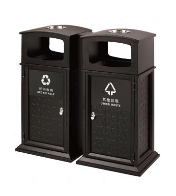 双桶分类钢板垃圾桶