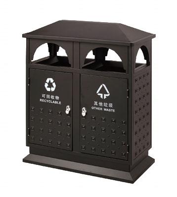 社区双桶分类钢制垃圾桶
