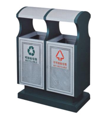 弧形分类冲孔钢制垃圾桶