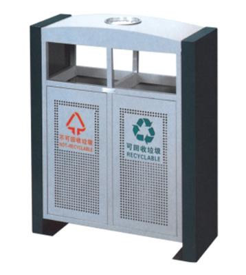 拱形冲孔户外分类钢制垃圾桶主图