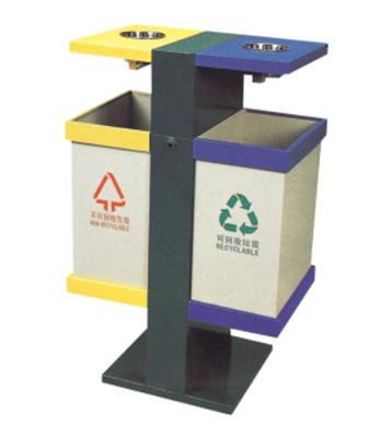 小区带烟缸分类垃圾桶