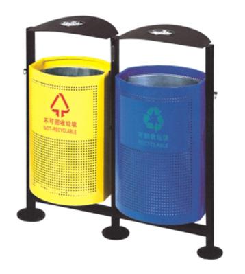 钢制双桶分类垃圾桶