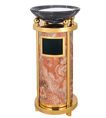圆形仿石钛金垃圾桶
