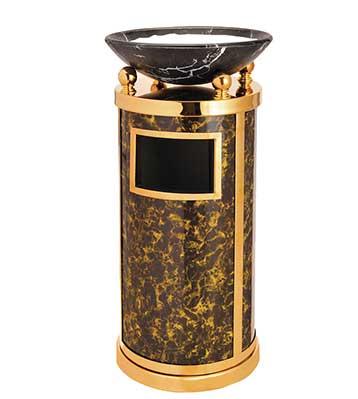 圆形大理石钛金垃圾桶