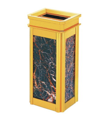 室内靠墙立式钛金座地果皮箱