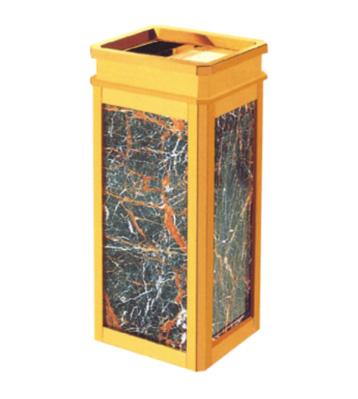 扁水晶钛金座地果皮箱