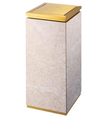 土豪金带大理石钛金垃圾桶