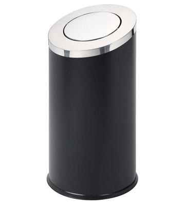 金属斜切摇盖烤漆垃圾桶