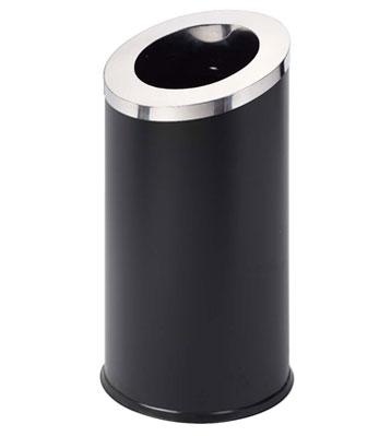 电镀黑色斜切直投不锈钢果皮箱