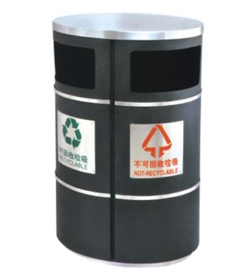 椭圆形分类铁皮垃圾桶