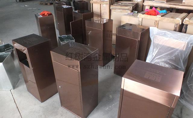 方形不锈钢单桶果皮箱图片001